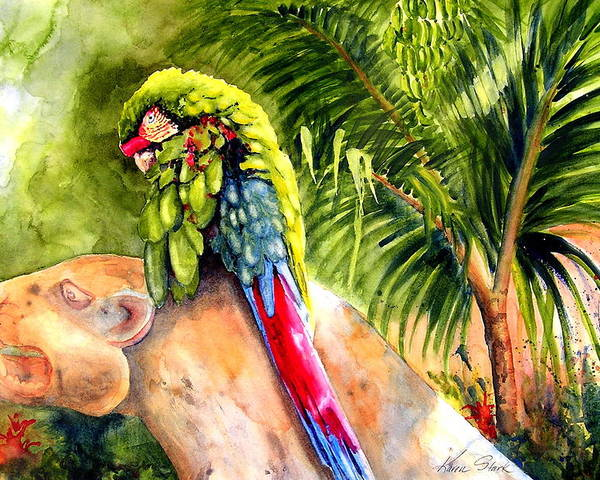 Parrot Poster featuring the painting Pajaro by Karen Stark