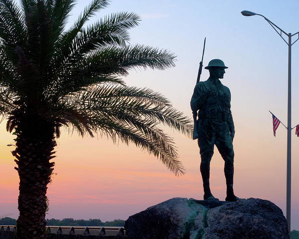 Palatka Poster featuring the photograph Palatka Memorial Bridge Doughboy At Sunset by Angie Bechanan
