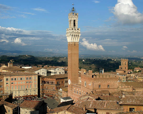 Siena Poster featuring the photograph Palazzo Pubblico And Campo Siena by Mathew Lodge