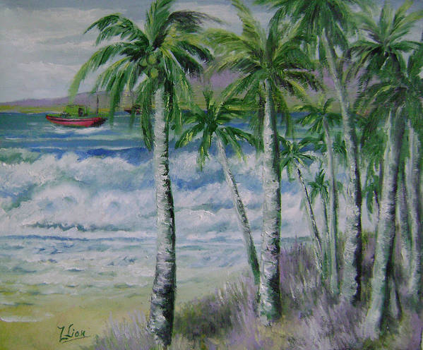Landscape Poster featuring the painting Palm Beach by Lian Zhen
