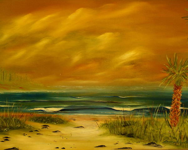 Sea Shore/palms/beach/skys Poster featuring the painting Palm Island by Lorenzo Roberts