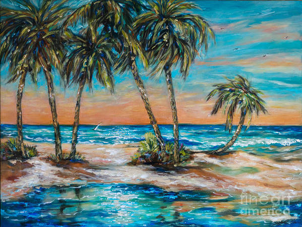 Palms Poster featuring the painting Palm Reflection Lagoon by Linda Olsen