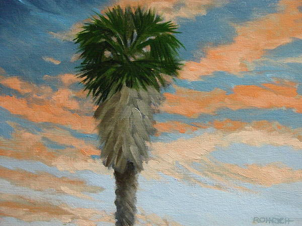 Landscape Poster featuring the painting Palm Sunrise by Robert Rohrich