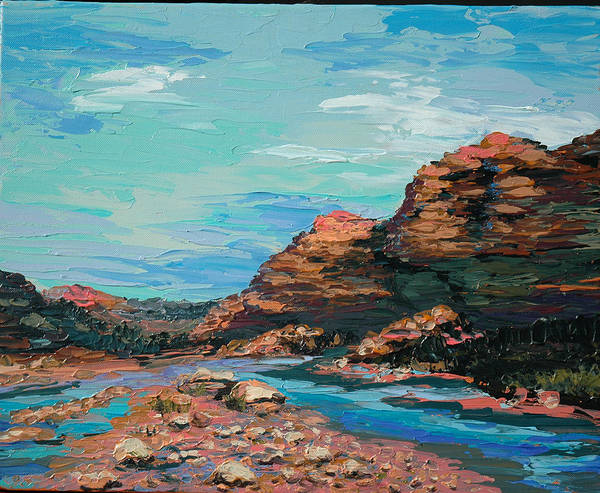 Landscape Poster featuring the painting Palma Canyon by Cathy Fuchs-Holman