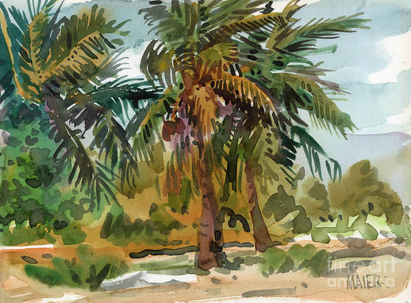 Palm Tree Poster featuring the painting Palms In Key West by Donald Maier