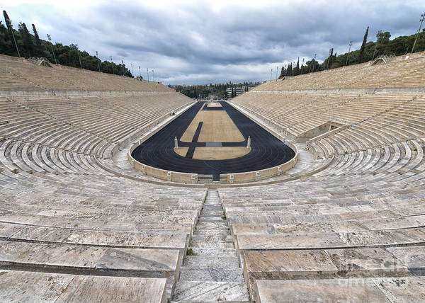 Kallim�rmaro Poster featuring the photograph Panathenaic Stadium In Athens, Greece by Ivan Batinic