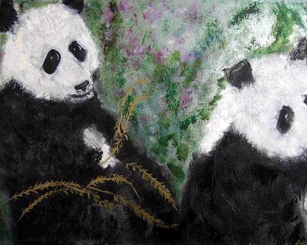 Animal Poster featuring the painting Pandas With Golden Bamboo by Michela Akers
