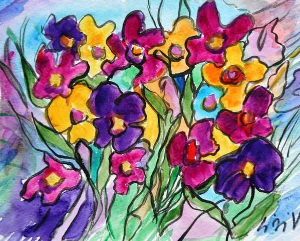 Flowers Poster featuring the painting Pansies by Luiza Vizoli