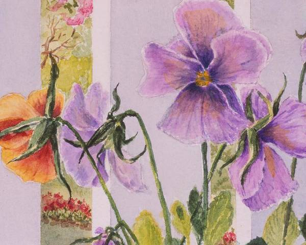 Florals Poster featuring the painting Pansies On My Porch by Mary Ellen Mueller Legault