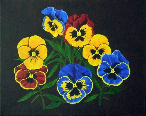 Pansies Poster featuring the painting Pansy Lions by Brandy House