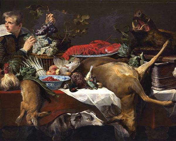 Art Poster featuring the painting Pantry Scene With Servant By Frans Snyders by Frans Snyders