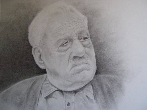 Portrait Poster featuring the drawing Papa Schupp by George Valdez