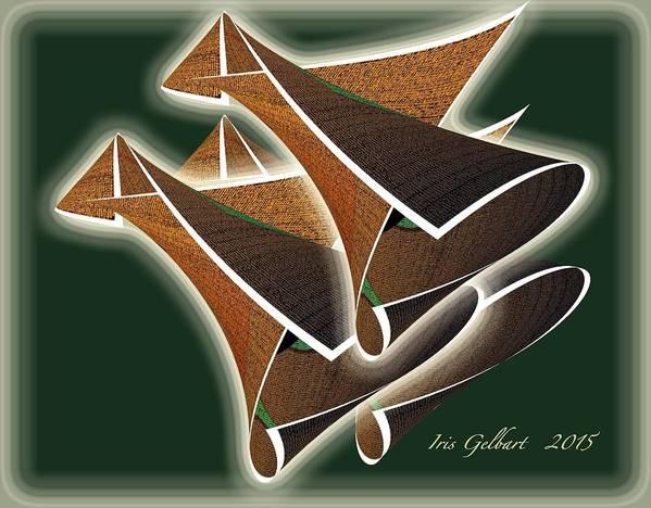 Abstract Poster featuring the digital art Paper Horns by Iris Gelbart
