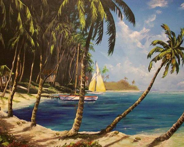 Tropical Poster featuring the painting Paradise Found by Marco Antonio Aguilar