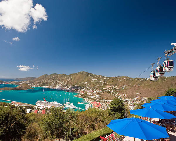 Aerial Tramway Poster featuring the photograph Paradise Point View Of Charlotte Amalie Saint Thomas Us Virgin Islands by George Oze