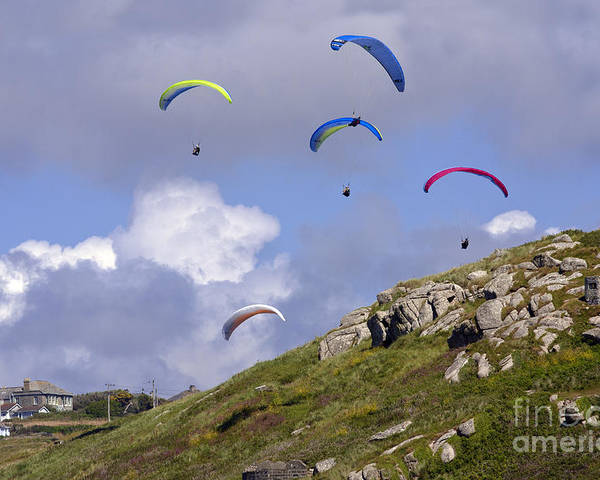 Cornwall Poster featuring the photograph Paragliding Over Sennen Cove by Terri Waters