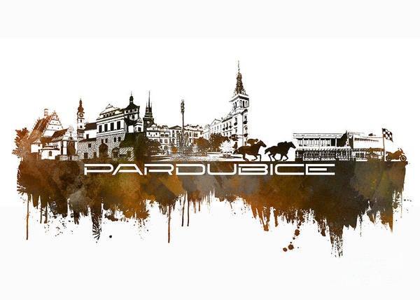 Pardubice Poster featuring the digital art Pardubice Skyline City Brown by Justyna JBJart