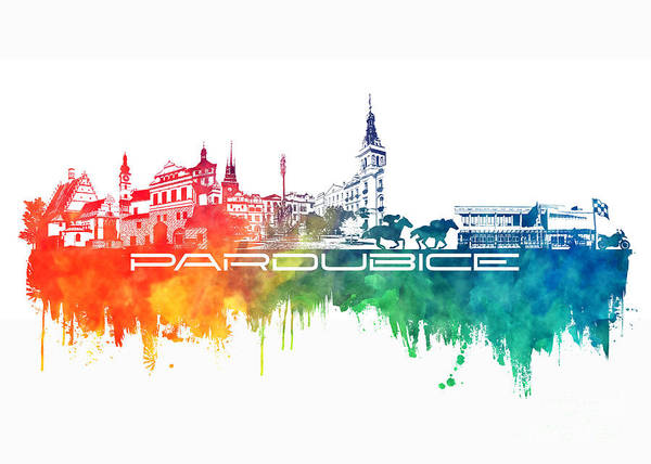 Pardubice Poster featuring the digital art Pardubice Skyline City Color by Justyna JBJart