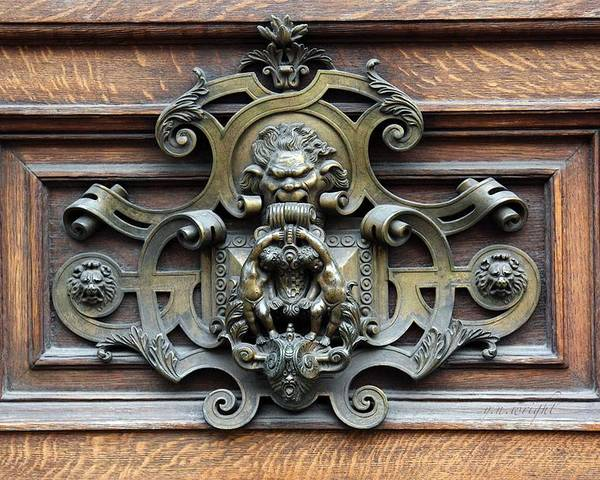 Greetings Poster featuring the photograph Paris - 19th Century Brass Door Knocker by Yvonne Wright