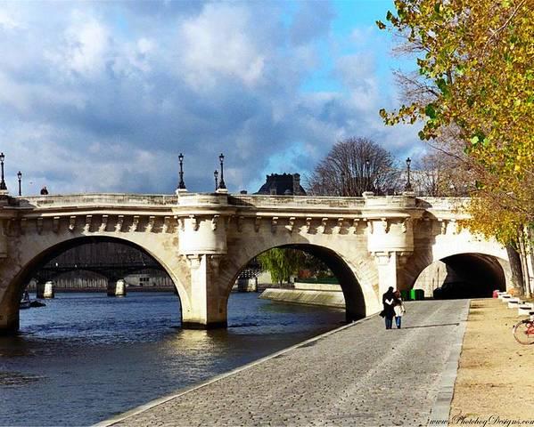 Paris Poster featuring the photograph Paris Bridge 0523 by PhotohogDesigns