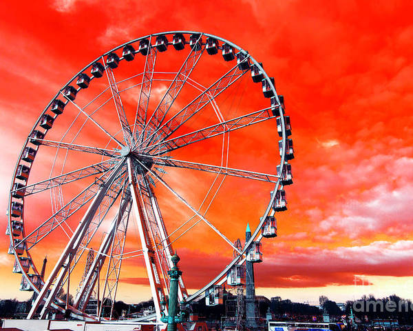 Paris Ferris Wheel Pop Art Poster featuring the photograph Paris Ferris Wheel Pop Art 2012 by John Rizzuto