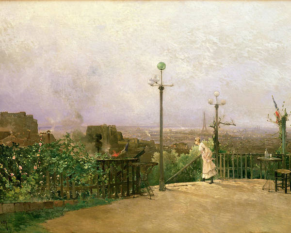 Paris Poster featuring the painting Paris Seen From The Heights Of Montmartre by Jean dAlheim