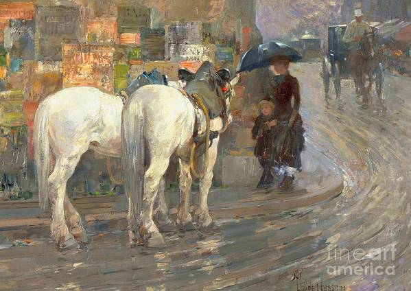 Horses; Carriage; Parisian; Posters; Umbrella; Street Corner; Horse Poster featuring the painting Paris Street Scene by Childe Hassam