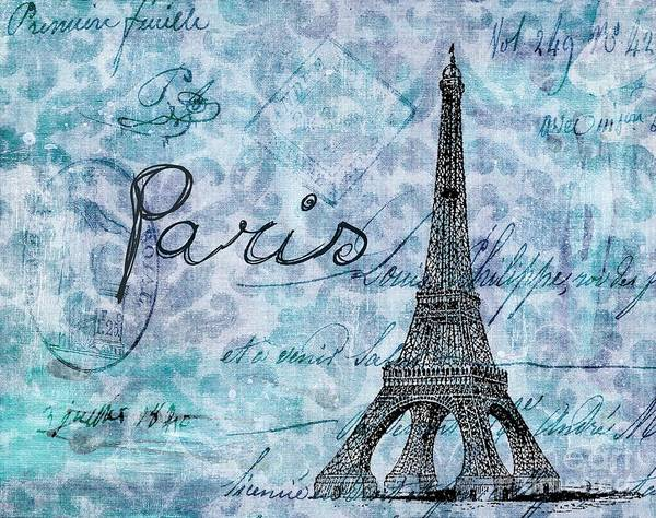 Blue Poster featuring the painting Paris - V01t01a by Variance Collections
