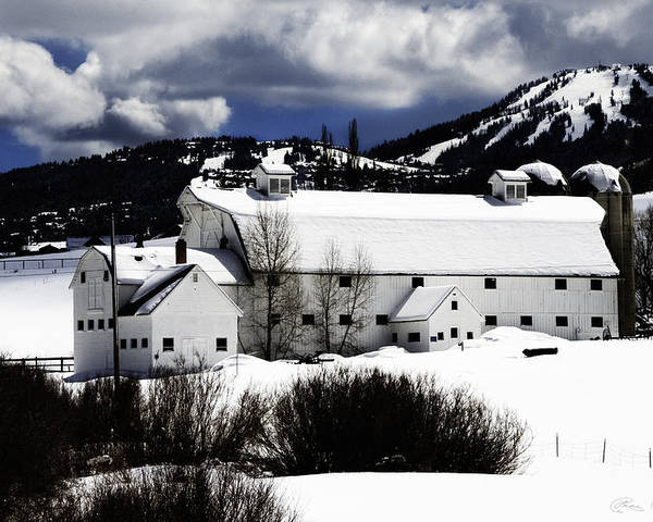 Architecture Poster featuring the photograph Park City White Barn by La Rae Roberts