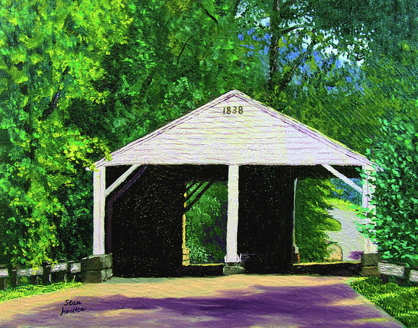 Covered Bridge Poster featuring the painting Park Covered Bridge by Stan Hamilton