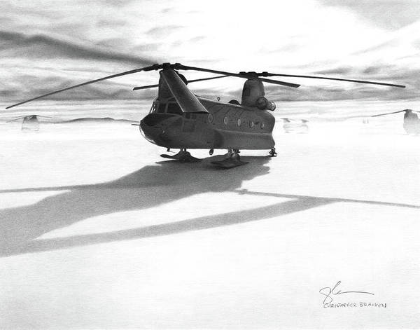 Military Poster featuring the drawing Parked Ch-47 by Christopher Bracken