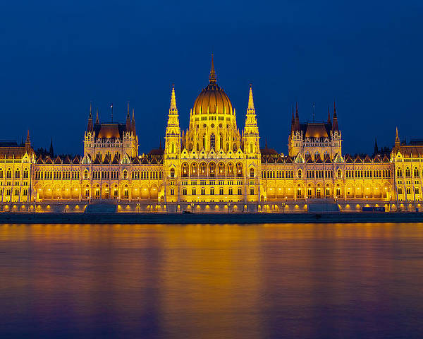 Budapest Poster featuring the photograph Parliament On The Danube by Peter Kennett