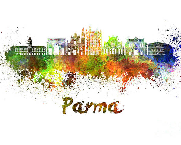 Parma Poster featuring the painting Parma Skyline In Watercolor by Pablo Romero