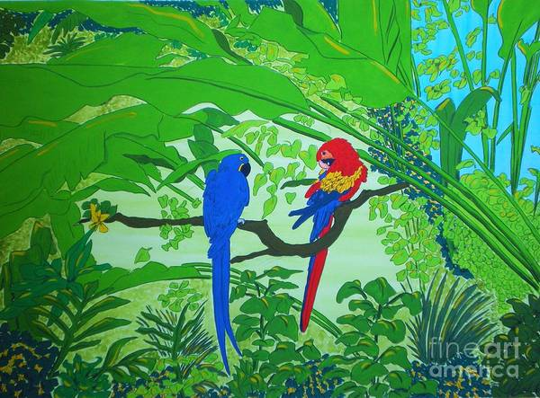 Watercolour Painting Poster featuring the painting Parrots by Michaela Bautz