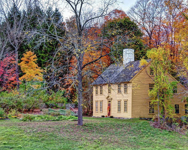 Parson Barnard House Autumn Foliage North Andover Massachusetts Fall First Period Colonial Poster featuring the photograph Parson Barnard House In Autumn by Wayne Marshall Chase