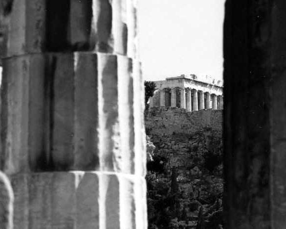 Parthenon Poster featuring the photograph Parthenon from The Temple of Hephaistos Athens by Susan Chandler