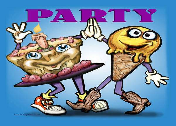 Party Poster featuring the greeting card Party by Kevin Middleton