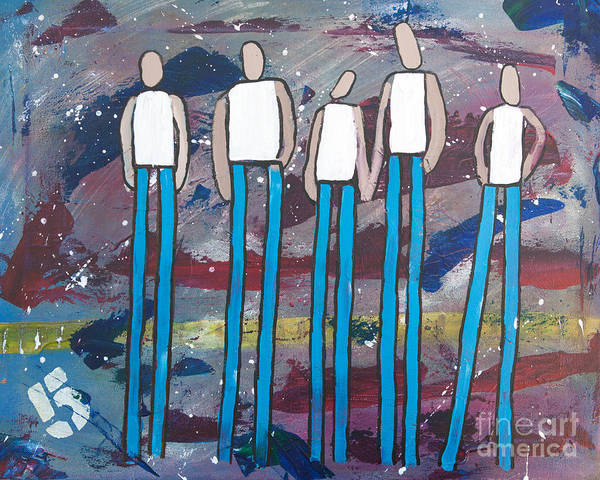 People Poster featuring the painting Party Of Five by Annie Mac