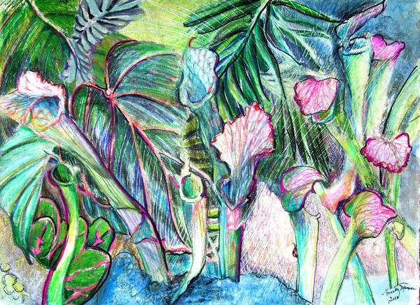Pticher Plant Poster featuring the painting Partying With The Pitcher by Mindy Newman