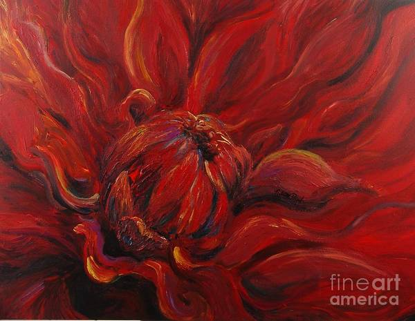Red Poster featuring the painting Passion II by Nadine Rippelmeyer
