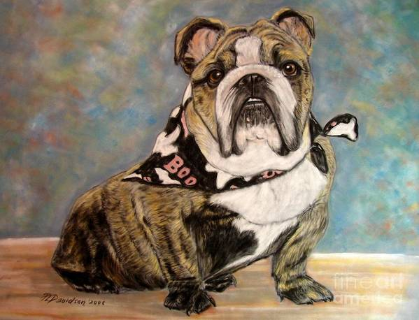 Brindle Poster featuring the painting Pastel English Brindle Bull Dog by Patricia L Davidson