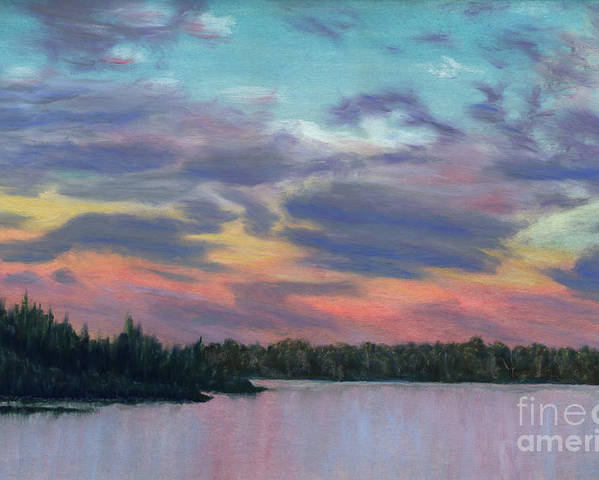 Landscape Poster featuring the painting Pastel Sunset by Lynn Quinn