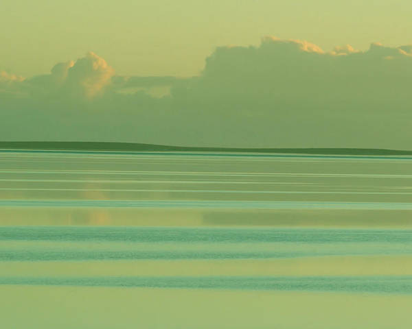 Sunset Poster featuring the photograph Pastel Sunset Sea Green by Tony Brown