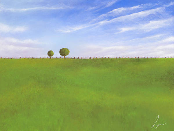 Nebraska Poster featuring the painting Pasture Land by Cindy D Chinn