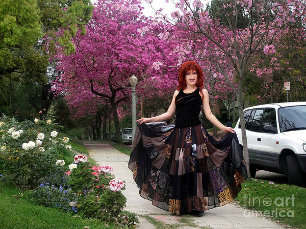 Hippie Poster featuring the photograph Patchwork Skirt - Hippie Fashion - Pink Spring by Sofia Metal Queen