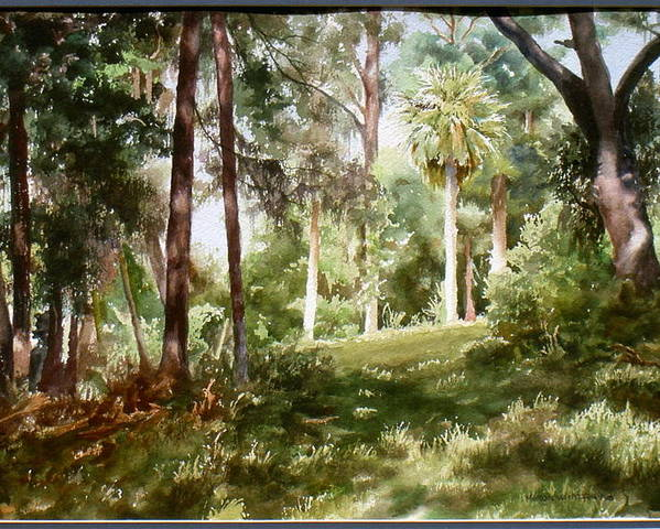 Nature Poster featuring the painting Path In The Woods by Marion Hylton