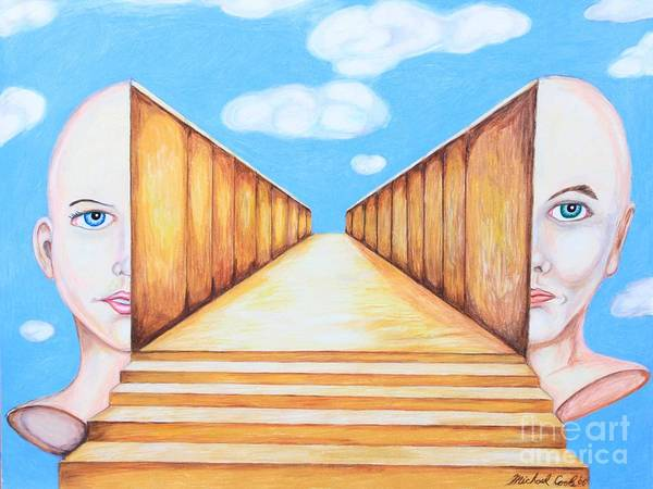 Surreal Portrait Skyscape Poster featuring the drawing Path Of Unity by Michael Cook