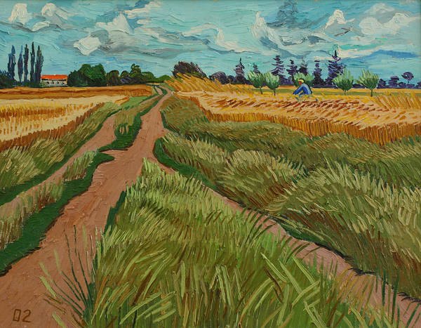 Landscape Poster featuring the painting Path Through A Wheat Fields by Vitali Komarov