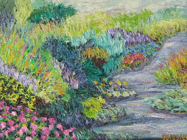 Flowers Poster featuring the painting Pathway Of Flowers by Richard Nowak