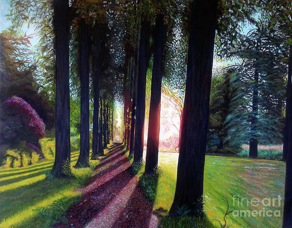 Landscape Poster featuring the painting Pathy of light by Jose Manuel Abraham